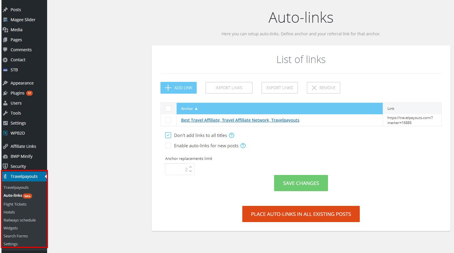 Auto-links script – Travelpayouts affiliate network